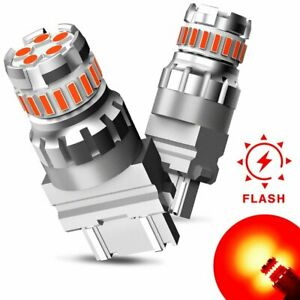 2x 3157 Red Led Strobe Flash Brake Stop Parking Bulbs For Ford F 150 Or Ram 1500