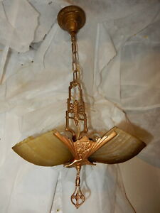 1930s Art Deco Markel 3 Light Slip Shade Chandelier
