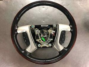 2007 2008 Escalade Steering Wheel Ebony W Woodgrain And Silver Trim 15917946