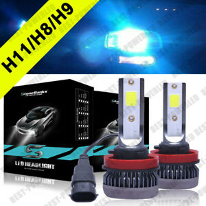 8000k Ice Blue H11 H8 H9 Led Cob Headlight 9000lm Kit Low Beams Bulbs High Power