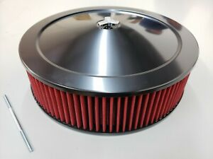14 X 5 Black Steel Performance Air Cleaner Kit W Washable Red Filter 14x5 4br