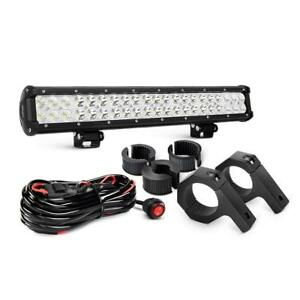 20 Inch 126w Flood Spot Led Light Bar 2pcs Roll Cage Holder 4wd Atv Truck Suv