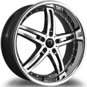 20 Inch Staggered Marquee M 5329 5x120 Machine Black W Stainless Steel Lip Rims