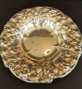 Vintage F B Rogers Silver Co Ornate Silver Plated Bowl Raised Floral 10