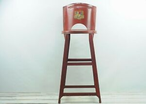 Vintage Kitchen Stool Red Vintage Rolled Back Metal Kitchen Stool With Decal