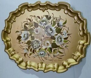 Large Nash Co Hand Painted Tole Ware Serving Tray Gold Floral Scrolled Edges