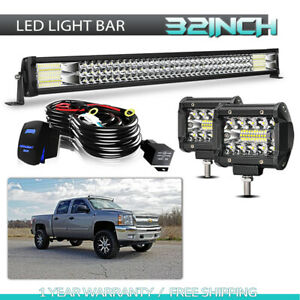 32inch Tri Row Led Light Bar Off Road Driving 4inch 60w Fog Light Combo Zm6