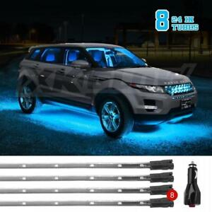 Light Blue Car Truck Led Under Glow Neon Strip Light Kit 3 Pattern 8pc 24in Tube