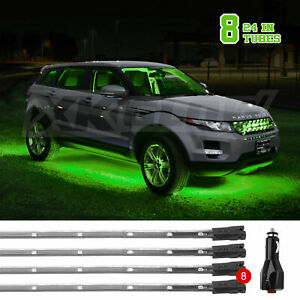 Car truck Led Under Glow Neon Strip Lights Kit 3 Pattern 8pc 24in Tube Green