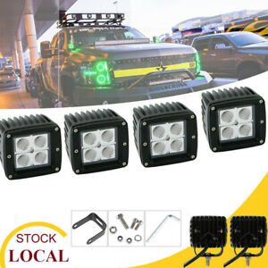 4p 3 In Flood Lamps Cube Led Fog Driving Light Fits For Jeep Toyota Chevy Suv