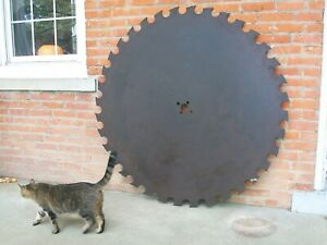 Large Antique Vintage Sawmill Buzz Saw Blade Teeth 52 Diameter Solid Sawblade