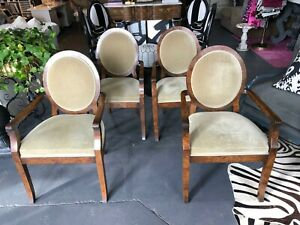 William Switzer Joseph Hoffman Arm Chairs Olive Mohair Upholstery