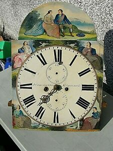 Antique Long Case Clock Face Painted With Movement Scottish