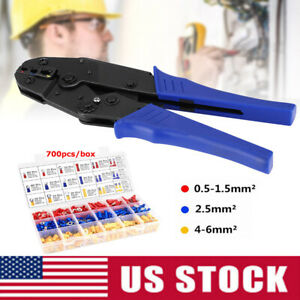 0 5 6mm Crimping Ratcheting Wire Pliers 700pcs Crimp Terminals Connectors Kit