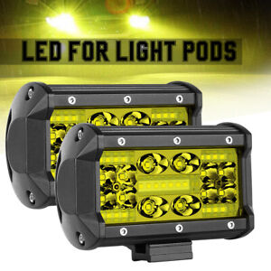 2x 5 350w Quad Row Led Work Light Bar Combo 3000k Driving Fog For Offroad Jeep
