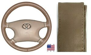 Perforated Oak Genuine Leather Steering Wheel Cover C For Saturn Volkswagen