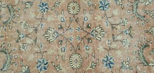 Lovely Antique 1930 1939s Wool Pile Muted Dye Distressed Oushak Area Rug 4x7ft