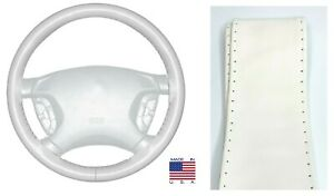 White Genuine Leather Steering Wheel Cover Grip Size C For Saturn Volkswagen