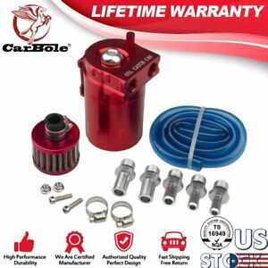 Oil Catch Reservoir Breather Red Can Tank Filter Kit Cylinder Aluminum Engine