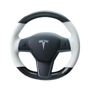 Carbon Fiber white Pu Leather Steering Wheel Hand Sewing Wrap For Tesla Model 3