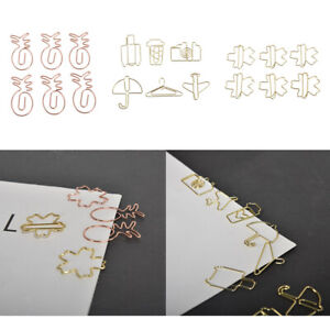 6x Paper Clip Stationery Metal Cute Binder Clips Photos Tickets Notes Letter