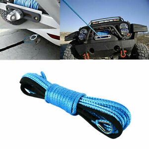 1 4 X 50 7700lbs Synthetic Winch Rope Line Cable Blue Rope Sheath For Atv Utv