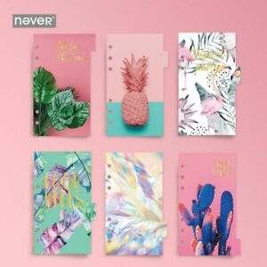 Never 6pcs Spiral Notebook A6 Dividers Planner Bookmark Filler Pages Stationery