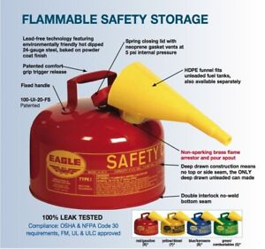 2 5 Gallon Safety Gas Can Eagle Ui 25 fs Type I Red Galvanized Funnel Fast Ship