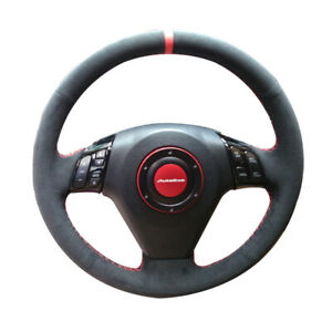 Black Suede Leather Steering Wheel Red Stitch Wrap Cover For Honda Accord 03 07