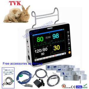 8 Lcd Portable Veterinary Icu Patient Monitor With Ecg Resp Nibp Spo2 Pr Temp