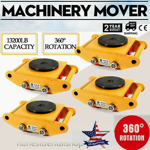 Us 4x 6 Ton Heavy Duty Machine Dolly Skate Machinery Roller Mover Cargo Trolley