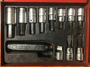 Industrial Tool 12 Pc 1 2 Drive Sae Standard Hex Socket Set Used