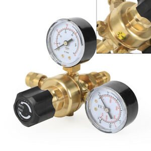 2 Dual Gauges Mig Flow Meter Control Valve Pressure Reducer Welding Regulator