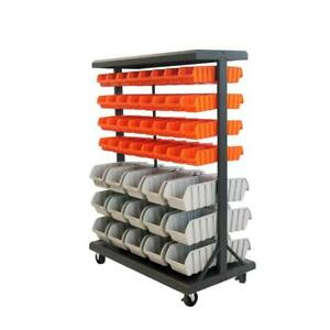 Mobile Bin Rack Parts Storage Organizer Dual sided Garage Shop Store Home New
