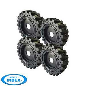 12x16 5 33x12 20 Solid Skid Steer Tires Set Of 4 With Rims