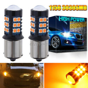 3030smd 1156 Ba15s Projector Led Rear Turn Signal Light Bulbs Amber For Hyundai