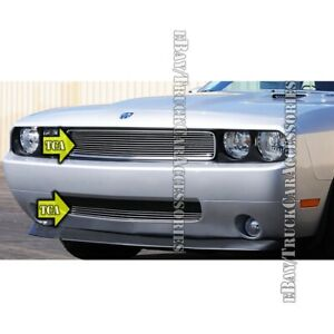 For Dodge Challenger 2011 2012 2013 2014 Polished Grille Overlay Combo 2pc Grill