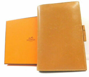 Hermes Agenda Diary Case Cover Book Business Pass Id Wallet Leather Brown