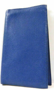 Hermes Agenda Diary Case Cover Book Business Pass Id Wallet Leather Blue