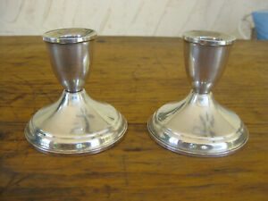 Vintage Pair Of Duchin Sterling Silver Candle Holders 3 1 8 Tall Nice