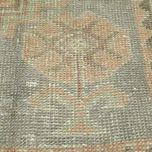 Antique Cr1930 1949 S Natural Dye Distressed Wool Pile Oushak Area Rug 3 6 6 3