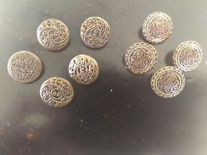 9 1920s Antique Filigree Cut Out Brass Coppertone Metal Mirrorback Buttons