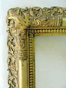 Big Antique Fits 20 X24 Ornate Gold Wood Gesso Picture Frame Fine Art Country