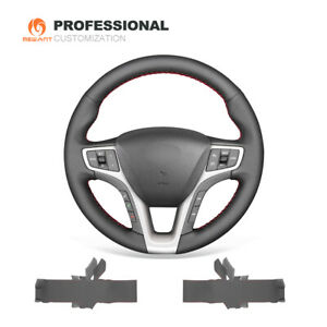 Mewant Black Genuine Leather Steering Wheel Cover Warp For Hyundai I40 2011 2019