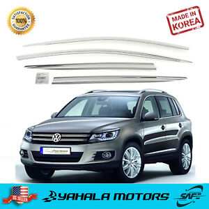 4 Piece Chrome Window Vent Visors Rain Guards For Volkswagen Tiguan 2008 2016