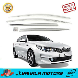 Chrome Window Vent Visor Rain Guard Tape On Out Channel For Kia Optima 2016 19