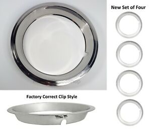 Set Of 4 Beauty Rings W Factory Correct Clips For 14x6 Gm Rally Wheels 1967 69