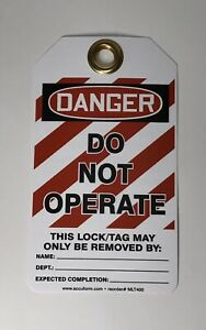 25 Pc Accuform Lockout Tag Out danger Do Not Operate Safety Tag 5 7 8 x3 1 8