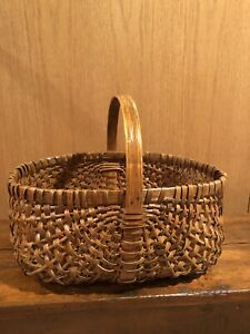 Antique Primitive Gathering Basket With Bentwood Handle Dated