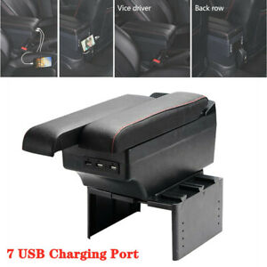 7 Usb Charging Ports Universal Car Telescopic Panel Storage Central Armrest Box